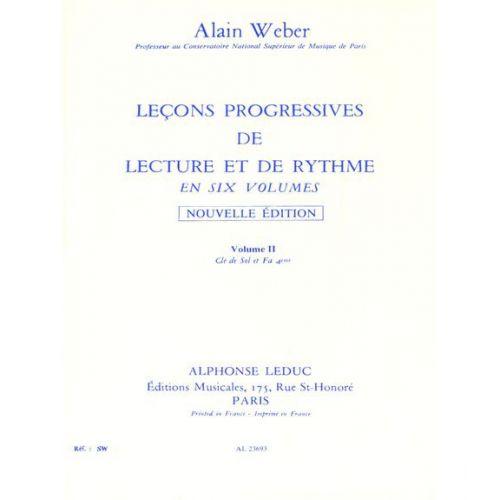 LEDUC WEBER A. - LEÇONS PROGRESSIVES DE LECTURE ET DE RYTHME VOL.2