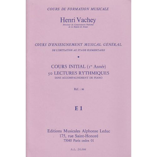 LEDUC VACHEY HENRI - 50 LECTURES RYTHMIQUES E1 NIVEAU DEBUTANT ELEVE