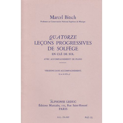 LEDUC BITSCH MARCEL - 14 LEÇONS PROGRESSIVES DE SOLFEGE VERSION B