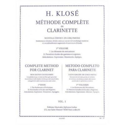 LEDUC KLOSE H. - METHODE COMPLETE DE CLARINETTE VOL.1