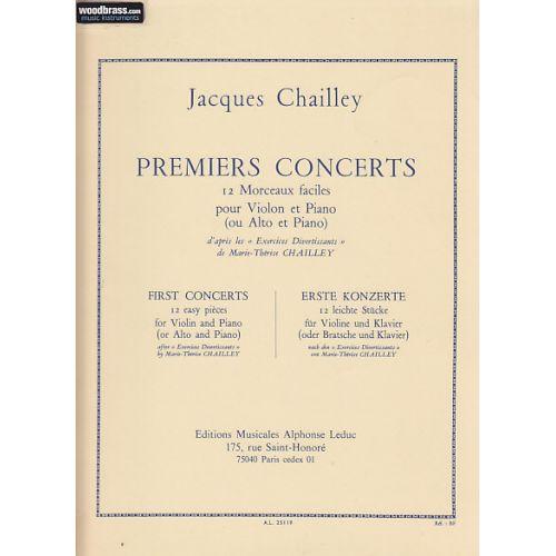 LEDUC PARTITION - CHAILLEY JACQUES - PREMIERS CONCERTS - VIOLON (OU ALTO) & PIANO