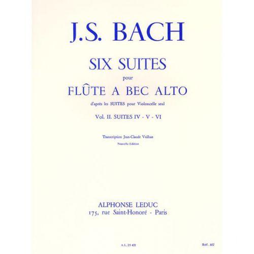 LEDUC BACH J.S. SIX SUITES POUR FLûTE à BEC ALTO VOL 2 SUITE IV. V. VI