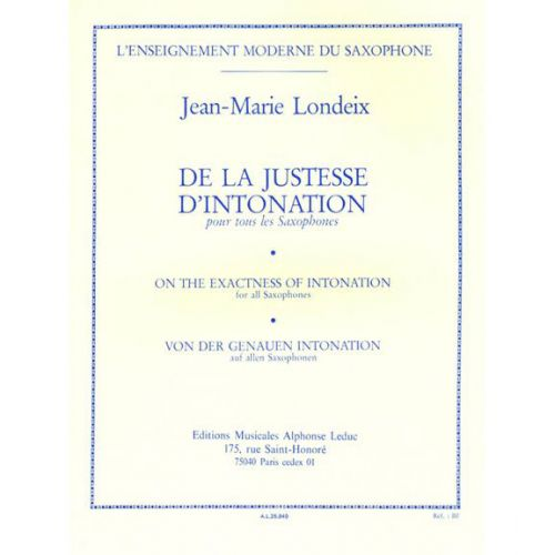LEDUC LONDEIX J.M. - DE LA JUSTESSE D'INTONATION - SAXOPHONE