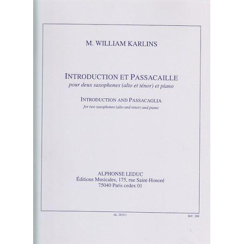 LEDUC KARLINS - INTRODUCTION ET PASSACAILLE - 2 SAXOPHONES ET PIANO