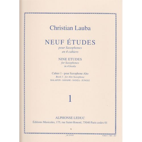LEDUC LAUBA CHRISTIAN - NEUF ETUDES POUR SAXOPHONE - CAHIER 1