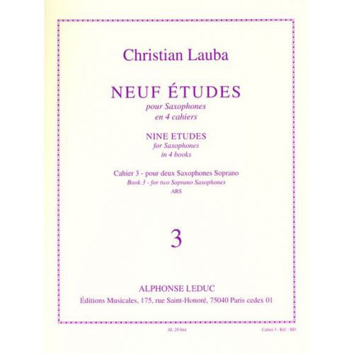 LEDUC LAUBA CHRISTIAN - NEUF ETUDES POUR SAXOPHONE - CAHIER 3