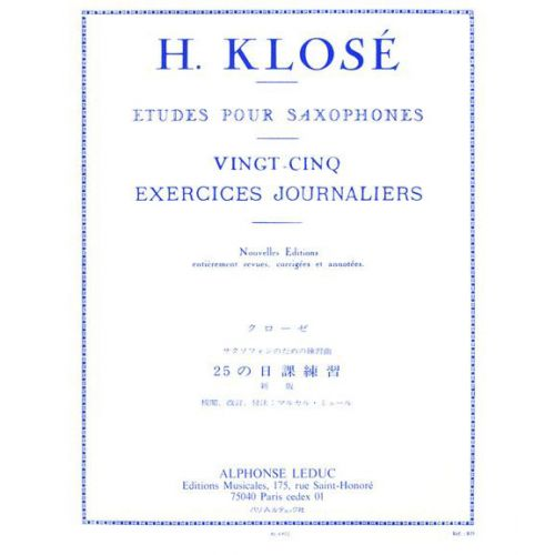 LEDUC KLOSE - 25 EXERCICES JOURNALIERS - SAXOPHONE