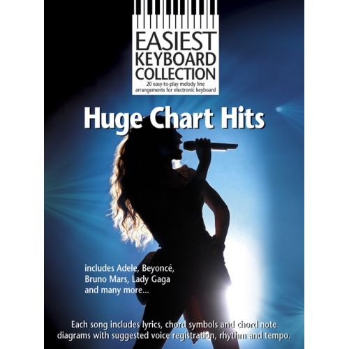 WISE PUBLICATIONS EASIEST KBD COL HUGE CHART HITS KBD - MELODY LINE, LYRICS AND CHORDS