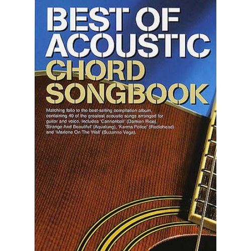 MUSIC SALES BEST OF ACOUSTIC CHORD SONGBOOK