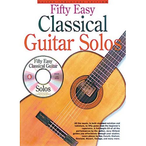 MUSIC SALES WILLARD JERRY - 50 EASY CLASSICAL GUITAR SOLOS + CD