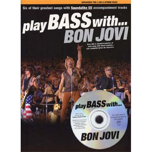 MUSIC SALES BON JOVI - PLAY BASS WITH + CD - BASS TAB