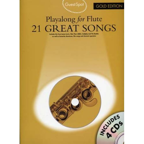 WISE PUBLICATIONS GUEST SPOT 21 GREAT SONGS GOLD EDITION + 4 CD - FLUTE