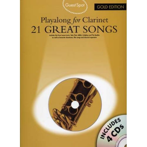 WISE PUBLICATIONS GUEST SPOT 21 GREAT SONGS GOLD EDITION + 4 CD - CLARINETTE