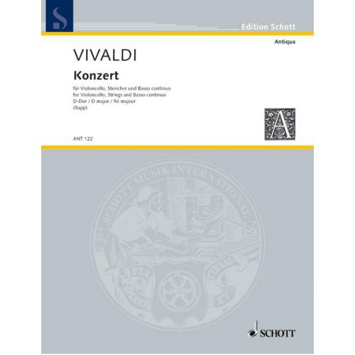 SCHOTT VIVALDI ANTONIO - CONCERTO D MAJOR RV 404 - CELLO, STRING ORCHESTRA AND HARPSICHORD