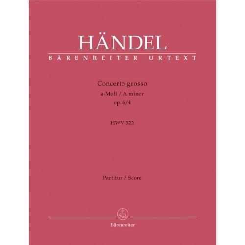 BARENREITER HÄNDEL G. F. - CONC. GROSSO OP.6/4 A-MOLL - CONDUCTEUR