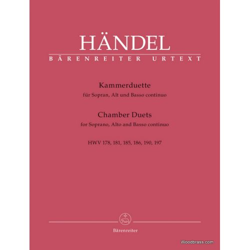 BARENREITER HANDEL G.F. - CHAMBER DUETS - SOPRANO ET ALTO