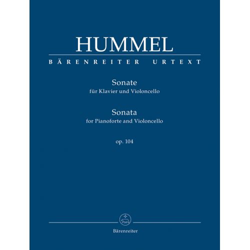 BARENREITER HUMMEL J.N. - SONATA FOR PIANOFORTE AND VIOLONCELLO OP.104