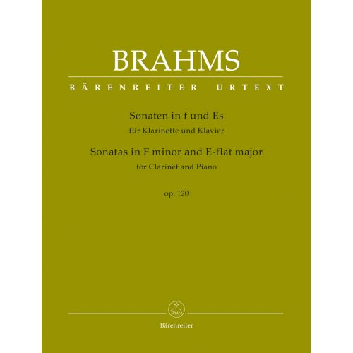BARENREITER BRAHMS J. - SONATAS IN F MINOR & E-FLAT MAJOR OP.120 FOR CLARINET & PIANO
