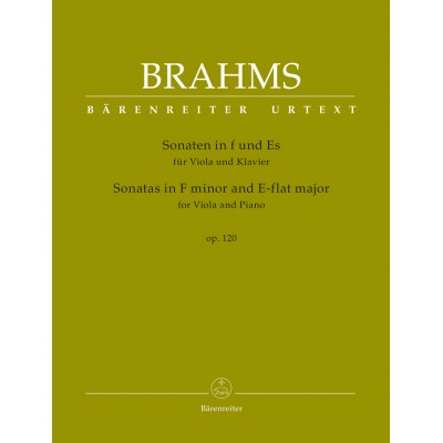 BARENREITER BRAHMS J. - SONATAS IN F MINOR & E-FLAT MAJOR OP.120 - VIOLA & PIANO