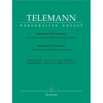 BARENREITER TELEMANN G.P. - 12 METHODICAL SONATAS VOL.1 - FLUTE OR VIOLIN, BASSO CONTINUO