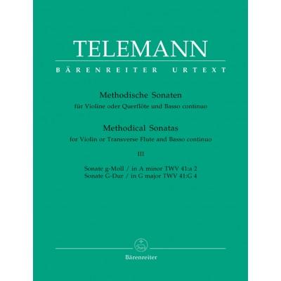 BARENREITER TELEMANN G.P. - 12 METHODICAL SONATAS VOL.3 - FLUTE OR VIOLIN, BASSO CONTINUO