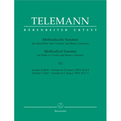 BARENREITER TELEMANN G.P. - 12 METHODICAL SONATAS VOL.6 - FLUTE OR VIOLIN, BASSO CONTINUO