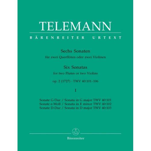 BARENREITER TELEMANN G. PH. - SECHS SONATEN - 2 FLUTES- VOL. 1