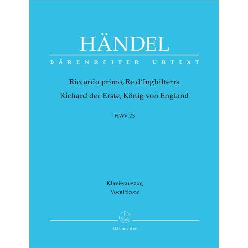 BARENREITER HAENDEL G.F. - RICCARDO PRIMO, RE D'INGHILTERRA HWV 23 - VOCAL SCORE