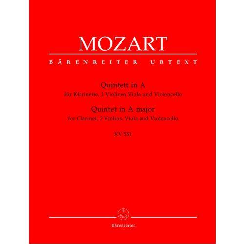 BARENREITER MOZART W.A. - QUINTETT IN A MAJOR KV 581 - CLARINETT, 2 VIOLINS, VIOLA, VIOLONCELLO