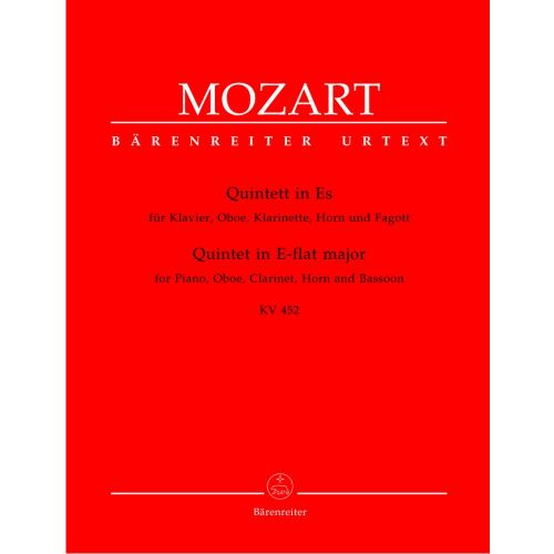 BARENREITER MOZART W.A. - QUINTET IN E-FLAT MAJOR KV 452 - PIANO, OBOE, CLARINET, BASSOON, HORN