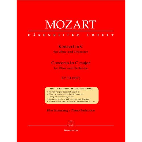 BARENREITER MOZART W.A. - CONCERTO IN C MAJOR KV 314 (285D) - OBOE, PIANO