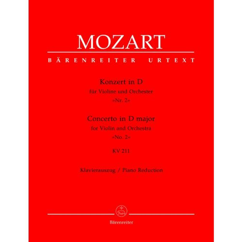 BARENREITER MOZART W.A. - CONCERTO N°2 IN D MAJOR KV 211 - VIOLIN, PIANO