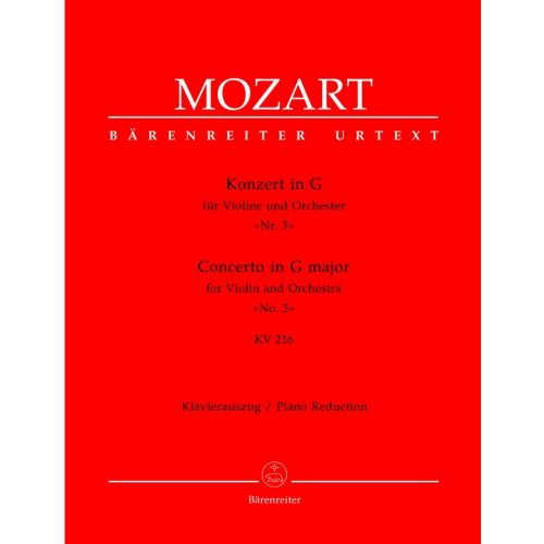 BARENREITER MOZART W.A. - CONCERTO N°3 IN G MAJOR KV 216 - VIOLIN, PIANO