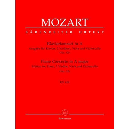 BARENREITER MOZART W.A. - CONCERTO POUR PIANO EN LA MAJEUR N°12 KV 414 - PIANO, 2 VIOLONS, ALTO, VIOLONCELLE