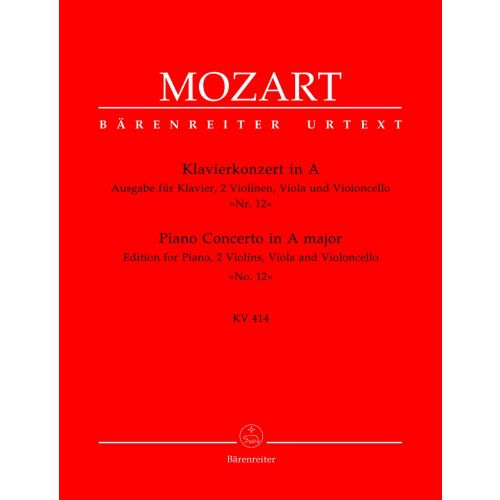 BARENREITER MOZART W.A. - PIANO CONCERTO IN F MAJOR N°12 KV 414 - PIANO, 2 VIOLIN, VIOLA, VIOLONCELLO
