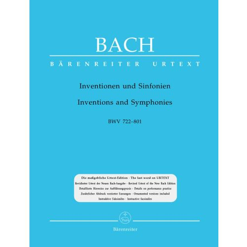 BARENREITER BACH J.S. - INVENTIONS AND SYMPHONIES BWV 772-801 - PIANO