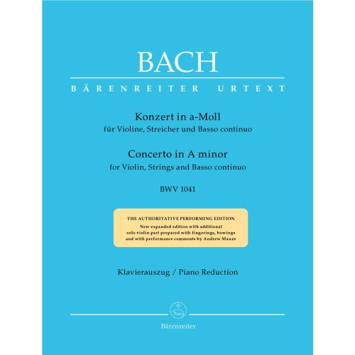 BARENREITER BACH J.S. - CONCERTO IN A MINOR BWV 1041 FOR VIOLIN, STRINGS AND BASSO CONTINUO - VIOLON, PIANO