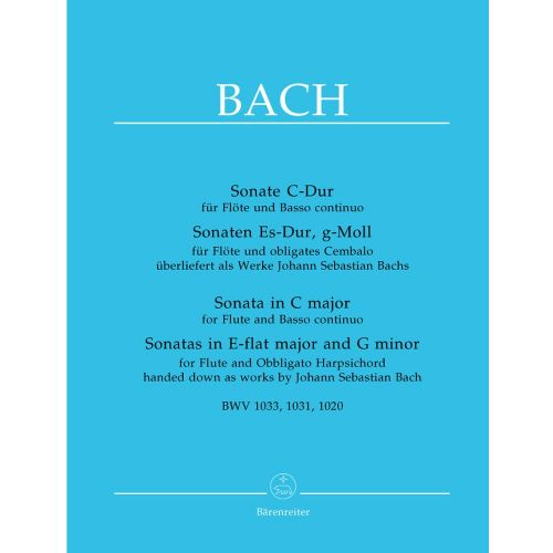 BARENREITER BACH J.S. - SONATE C-DUR - SONATAS IN ES-DUR MAJOR AND G-MOLL - FLUTE, BASSO CONTINUO, PIANO