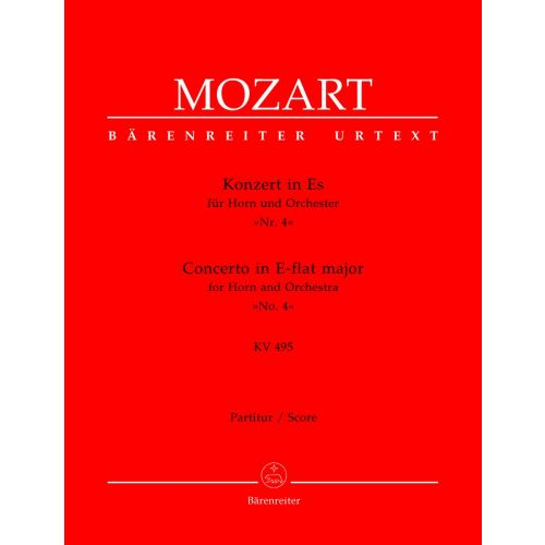 BARENREITER MOZART W.A. - CONCERTO N°4 IN E-FLAT MAJOR KV 495 FOR HORN AND ORCHESTRA - SCORE