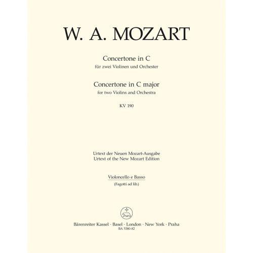 BARENREITER MOZART W.A. - CONCERTONE FOR TWO VIOLINS & ORCHESTRA KV 190 - CELLO & DOUBLE BASS