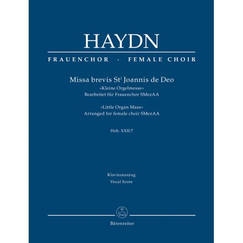 BARENREITER HAYDN J. - MISSA BREVIS ST. JOANNIS DE DEO HOB.XXII:7 -
