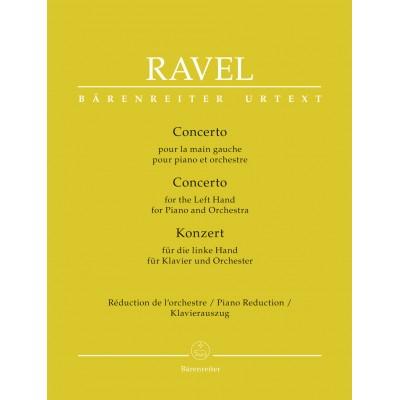 BARENREITER RAVEL MAURICE - CONCERTO POUR LA MAIN GAUCHE - PIANO REDUCTION