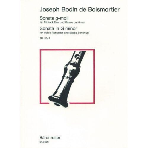 BARENREITER BOISMORTIER J.B. - SONATE G MINOR OP. 44-4 - RECORDER, BASSO CONTINUO