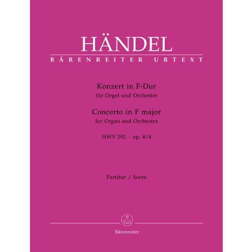 BARENREITER HAENDEL G.F. - CONCERTO IN F MAJOR HWV 292 OP 4-4 - SCORE