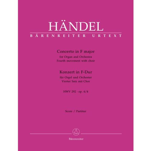 BARENREITER HAENDEL G.F. - CONCERTO IN F MAJOR HWV 292 OP 4-4 - ORGAN AND ORCHESTRA