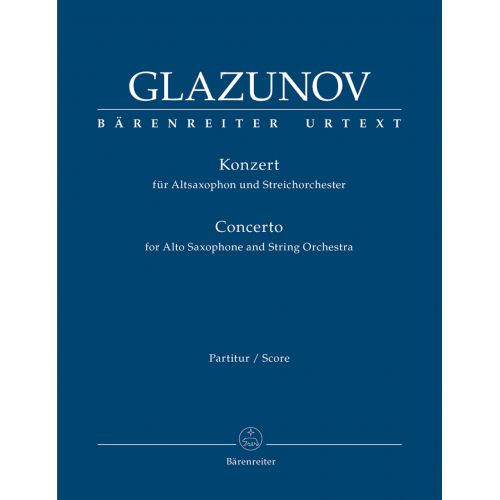 BARENREITER GLAZUNOV A. - CONCERTO FOR ALTO SAXOPHONE OP.109 - SCORE