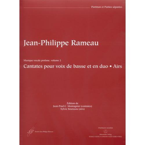BARENREITER RAMEAU J.P. - MUSIQUE VOCALE PROFANE VOL.1, CANTATES POUR VOIX DE BASSE ET EN DUO, AIRS