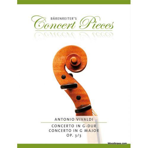BARENREITER VIVALDI A. - CONCERTO IN G-DUR OP.3/3 - VIOLON & PIANO