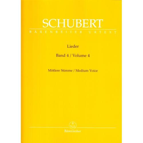 BARENREITER SCHUBERT FRANZ - LIEDER VOL.4 - MEDIUM VOICE