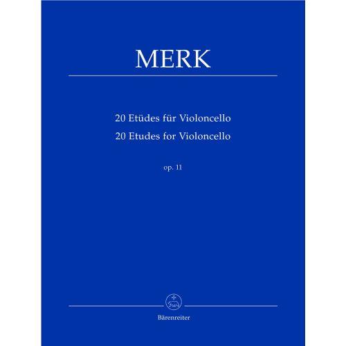 BARENREITER MERK JOSEPH - 20 ETUDES POUR VIOLONCELLE OP.11
